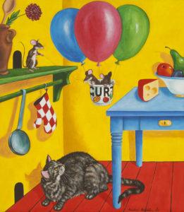 """""""Překvapená kočka"""" 2013, akryl, plátno, 115x100 cm (soukromá sbírka)"""