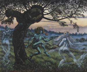 """""""Vodník a holky divoký, průsvitný"""" 2013, olej, plátno, 90x75 cm"""