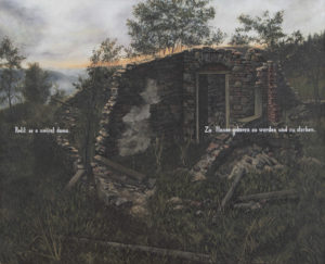 """""""Rodit se a umírat doma"""" 2000–2001, olej, plátno, 106x86 cm"""