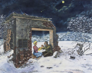 """""""24. XII. 2012 ve staré vodárně za vsí"""" 2013, olej, plátno, asi 100x80 cm (soukromá sbírka)"""