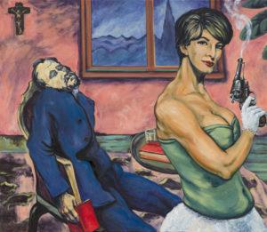 """Emil Filla (?) """"Zasažen. (čtenář)"""" 1915 (?), květen 2015, akryl, olej, plátno, 100x115 cm (příspěvek do 100. čísla Revolver Revue a k 30 letům činnosti)"""