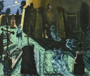 """""""Za některých těch krásných nocí plných světla"""" 2014, olej, plátno, 135x115 cm (soukromá sbírka)"""