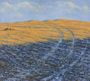 """""""Ráno na strništi – stříbrná a zlatá"""" 2014, olej, plátno, 100x90 cm (soukromá sbírka)"""