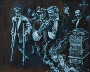 """""""Hřbitov – velká skupina s náhrobkem"""" 2014, olej, sololit, asi 50x40 cm (soukromá sbírka)"""