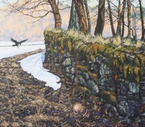"""""""Za hřbitovní zdí"""" 2015, akryl, olej, plátno, 115x100 cm"""